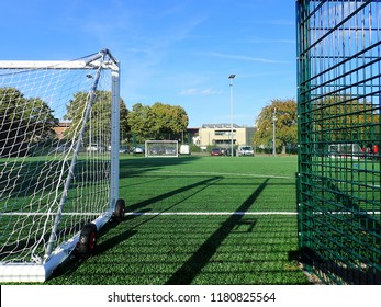 Rickmansworth, Hertfordshire, UK - September 16th 2018: Floodlit all-weather artificial football pitch at William Penn Leisure Centre