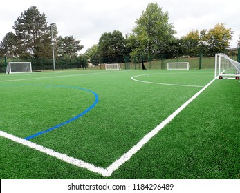 Rickmansworth, Hertfordshire, UK - September 20th 2018: Floodlit all-weather artificial football pitch at William Penn Leisure Centre, Rickmansworth, Hertfordshire, UK