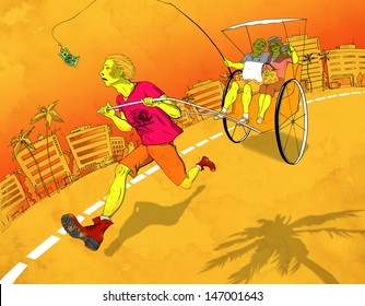 Rickshaw running after money. Social stratification in contemporary Western society. Hand-drawn in ink and digitally colored illustration