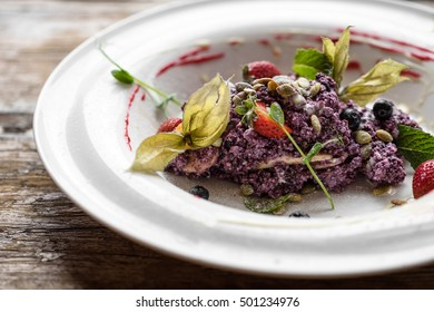 Ricotta in berry mousse with berry and pumpkin semyachka, a breakfast, healthy food