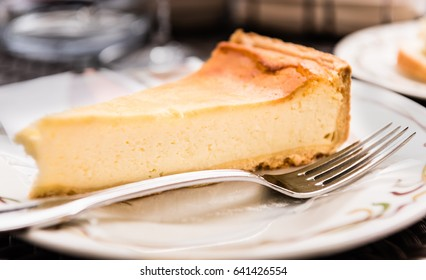 Ricotta cheesecake in cafe in Italy