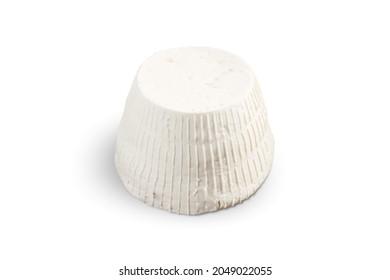 Ricotta fresca cheese isolated on white background