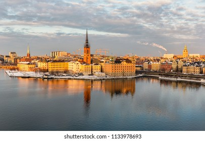 Riddarholmen island in Stockholm with old architecture.