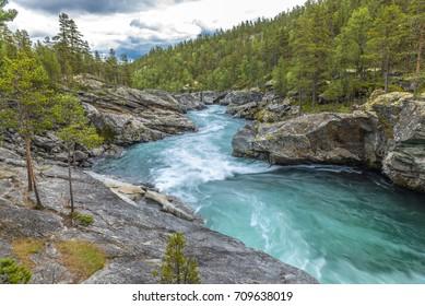 "Ridderspranget - ""The Knight-jump"" - Sjoa river, Jotunheimen Nationalpark, Norway"