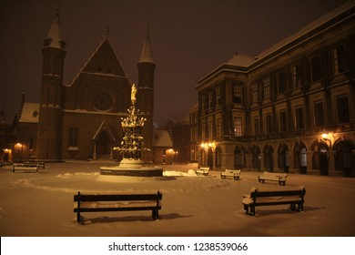 Ridderzaal and Binnenhof in the Hague covered in a thick layer of snow in the Netherlands