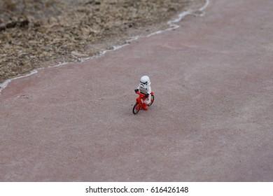 ridding bike storm trooper
