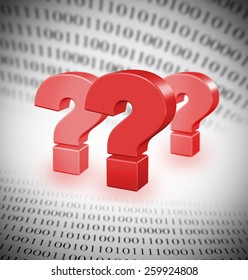 Riddles of modern technologies, abstract binary code, focus set on biggest question m ark