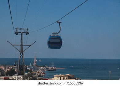 The ride on the cableway is one of the most popular and interesting tourist attractions in Batumi, Georgia.BATUMI, GEORGIA - September , 2017