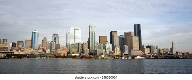 Ride in on a ferry or go fishing and see this view of Seattle, Washington