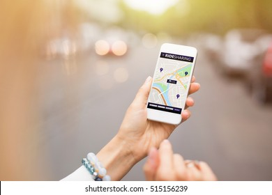 Ride sharing app on mobile phone