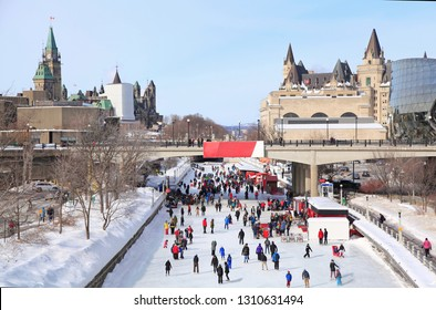 Rideau Canal Ice Skating Rink in winter, Ottawa, Canada