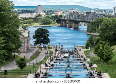 Rideau Canal and the Ottawa River in Ottawa, Ontario, Canada