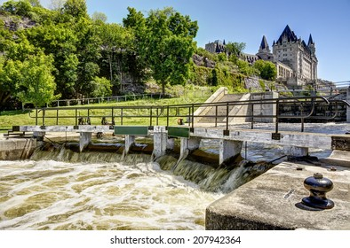 The rideau canal in Ottawa. Sunny summer day.