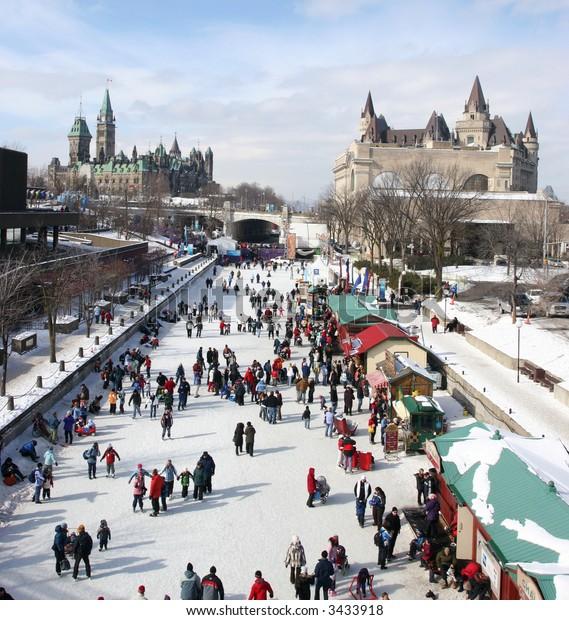 Rideau Canal, Parliament of Canada in winter