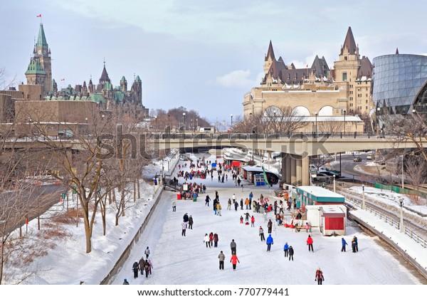 Rideau Canal skating rink in winter, Ottawa, Canada