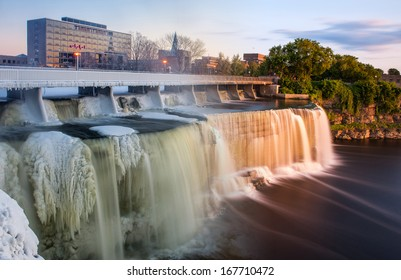 The Rideau waterfalls of Ottawa in Canada from winter to summer