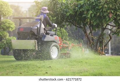 Ride-on lawnmower.