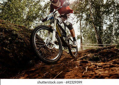 rider of bike downhill mountain biking trail in sunlight