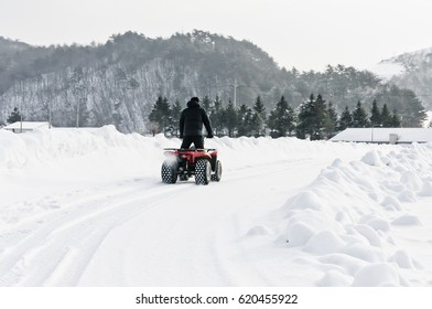 Rider during the test of snowmobiles trail.
