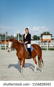 Rider elegant woman riding her horse outside in summer day. jockey and brown horse