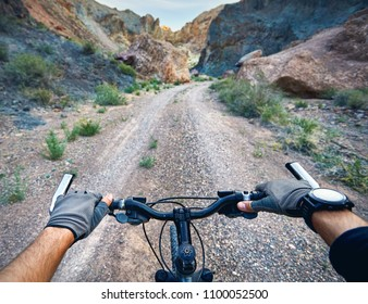Rider in gloves holding handlebars of mountain bike in the desert canyon. Extreme Sport Concept.