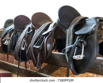 Rider Leather Saddles on fence isolated on white background