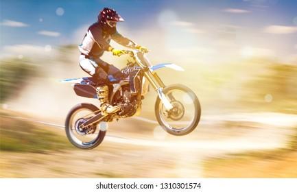 Rider on bike while Motocross race