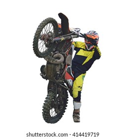 Rider on motocross bike on the back wheel is isolated on a white background