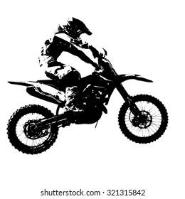 Rider participates motocross championship.  illustration.