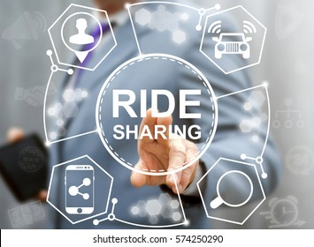 Ridesharing business carpooling cheap travel concept. Carpool ride share web smartphone order technology. Businessman presses a button joint trip on the virtual screen