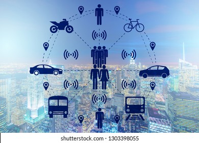 Ridesharing and carpooling concept in the city
