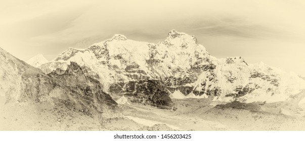 The ridge Mahalangur Himal in Cho Oyu zone - Everest region, Gokyo valley, Nepal, Himalayas (stylized retro)