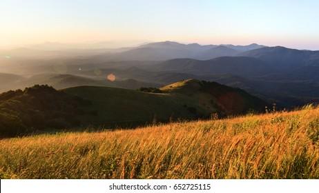 The ridge in the rays of the sun