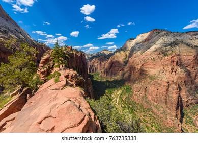 Ridge walk in beautiful scenery in Zion National Park along the Angel's Landing trail, Hiking in Zion Canyon, Utah, USA