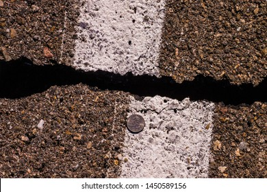 Ridgecrest, CA, USA - July 6th, 2019  On July 4th, 2019 a 6.4 magnitude earthquake struck the Ridgecrest area, the next day a 7.1 hit the same area. On highway CA-178, the road fractured.