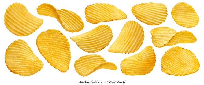 Ridged potato chips isolated on white background with clipping path, collection