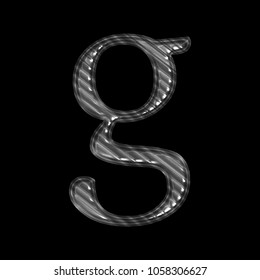 Ridged shiny silver metal letter G (lowercase) in a 3D illustration with a tough industrial style metal rough texture and classic font isolated on a black background with clipping path.
