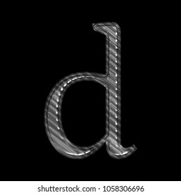 Ridged shiny silver metal letter D (lowercase) in a 3D illustration with a tough industrial style metal rough texture and classic font isolated on a black background with clipping path.