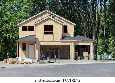 Ridgefield, Washington, USA - May 19, 2021: New Residential Home Construction built by Holt Homes in Washington's Fastest Growing City
