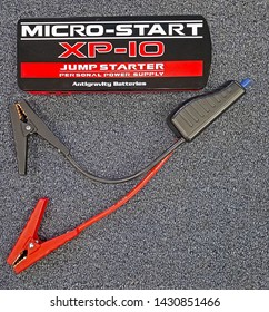 RIDGEWOOD, NEW JERSEY - DECEMBER 20, 2017: The Micro-Start XP-10 is unrivaled for performance & quality in the mini jump-start segment. Small enough to fit in your hand yet has amazing power power.