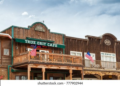 """Ridgway, Colorado - May 9, 2015: The True Grit Cafe was built to honor the filming of the academy award winning movie """"True Grit"""" starring John Wayne."""
