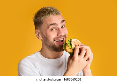 Ridiculous cute man loves fast food isolated on yellow background