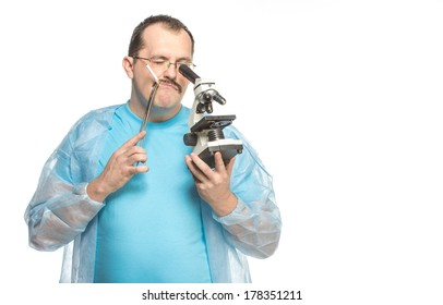 The ridiculous fat surgeon with a cigarette and a microscope, isolated