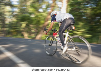 Riding bicycle blur motion on road