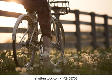 Riding a bicycle in the country