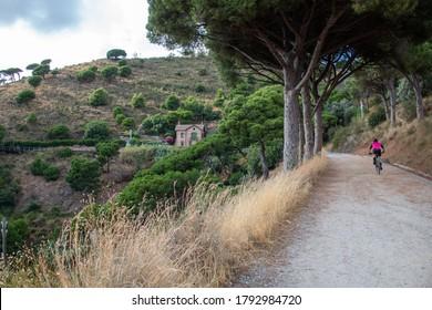Riding a bike in Collserola paths near Barcelona