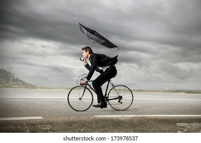 riding businessman