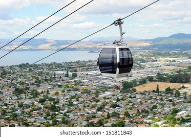 Riding cable car  to view the city of Rotorua, New Zealand