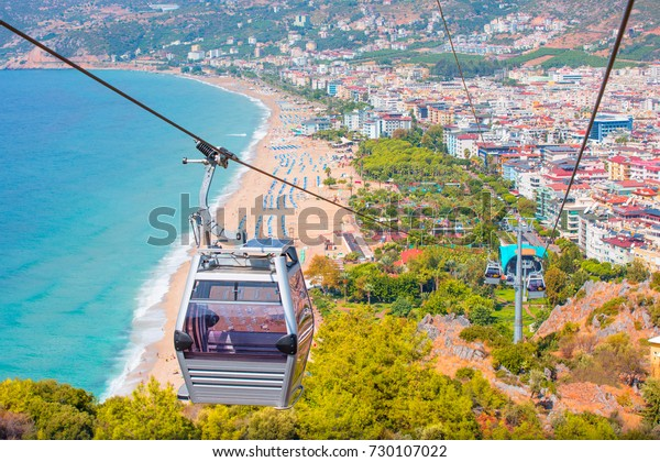 Riding cable car to view the city of Alanya (cleopatra beach), Turkey