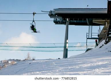 Riding the Chair Lift in Sauze D'Oulx piedmont